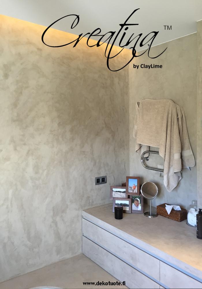 Creatina sisustuspinnoite harmaa kylpyhuone wc tila