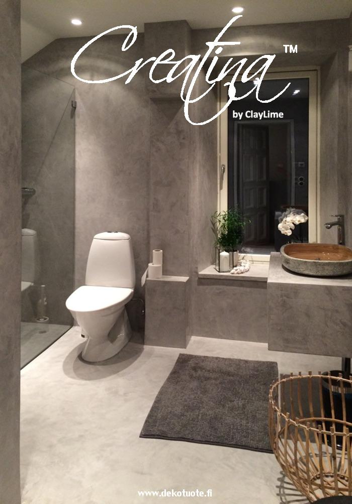 Creatina sisustuspinnoite harmaa kylpyhuone wc