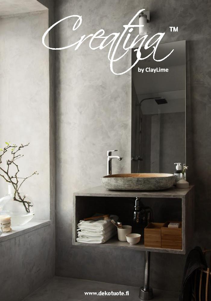 Creatina sisustuspinnoite harmaa kylpyhuone