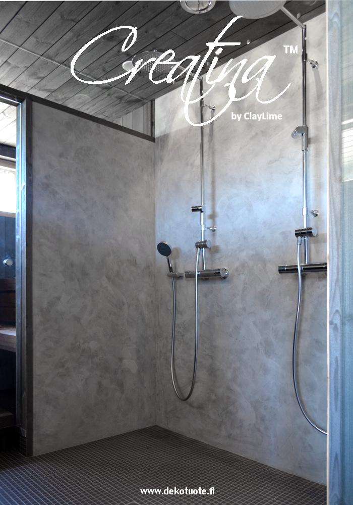 Creatina sisustuspinnoite kylpyhuoneen seinässä 2